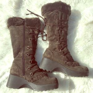 Brown Warm Fuzzy Mid Calf Boots